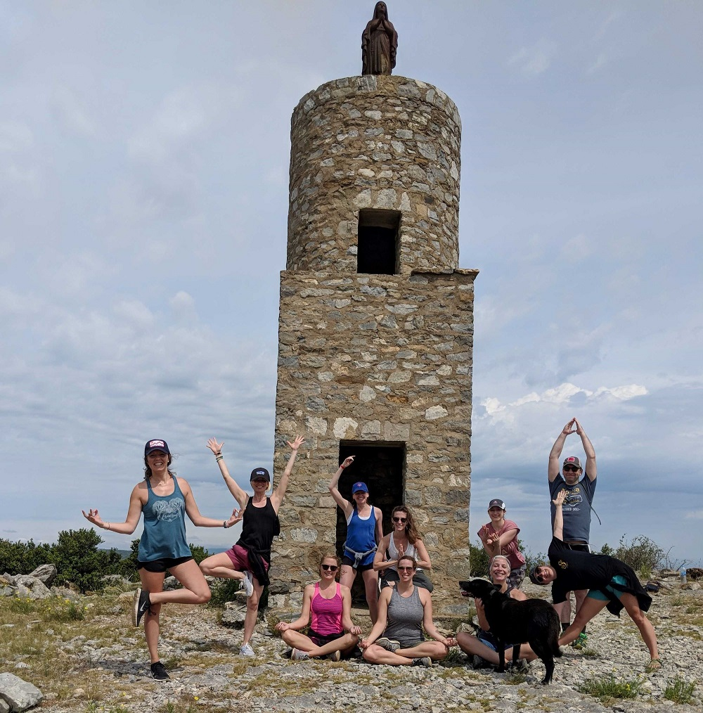 Yoga pose with monument