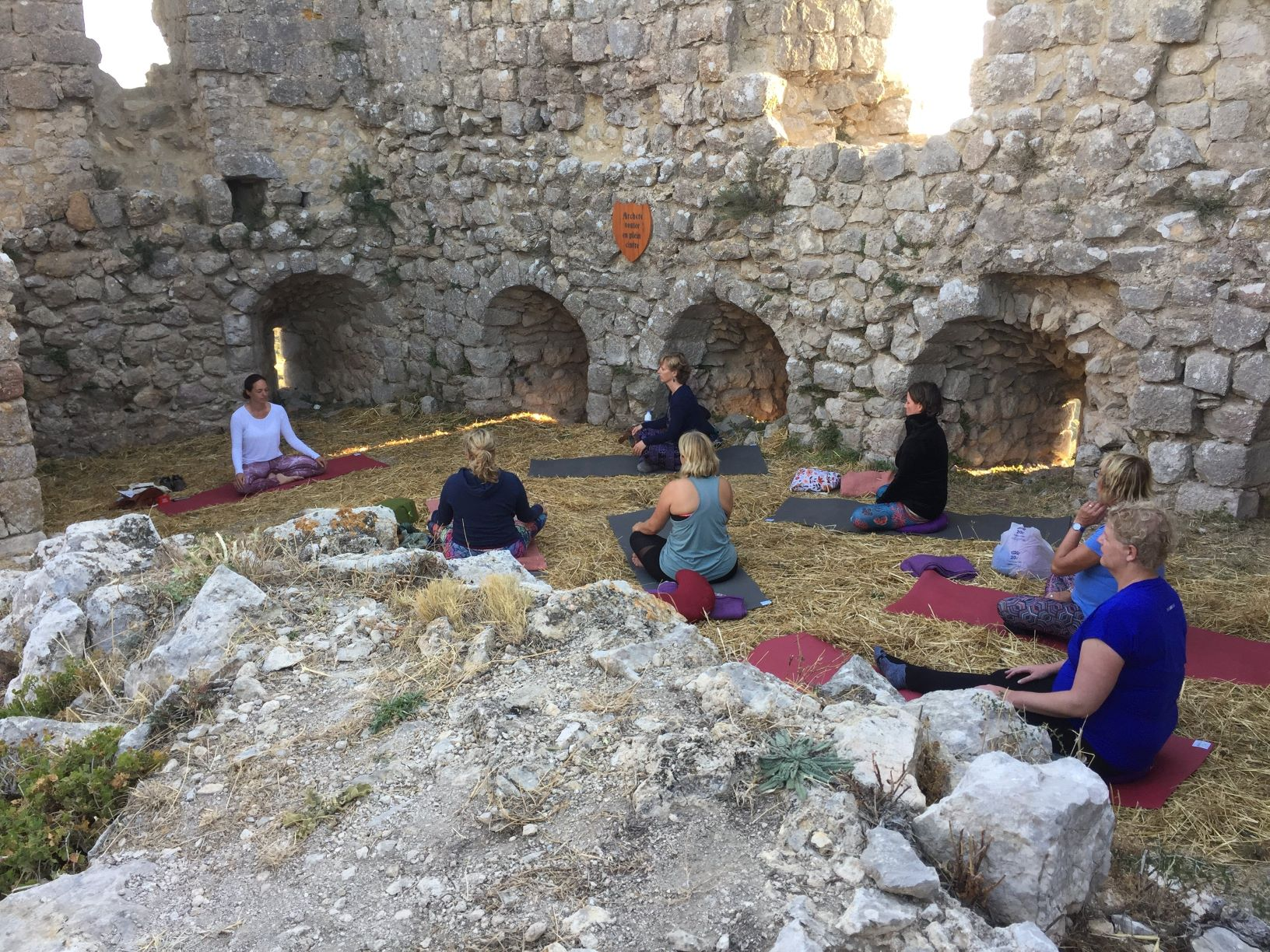 yoga in castle ruin